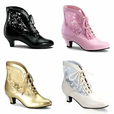 PLEASER FUNTASMA Dame-05 PU Lace Victorian Kitten Heel Ankle Boots