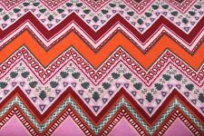 PINK ORANGE RED SOUTHWEST CHEVRON FLANNEL FABRIC 100% COTTON SEWING QUILTING BTY