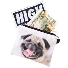 Cartoon Pug Dog Design Women Coin Purse Wallet Earphone Card Key Storage Bag