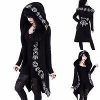 Ladies Punk Hooded Cloak Cardigan Women Black Gothic Hoodie Jacket Occult Witch