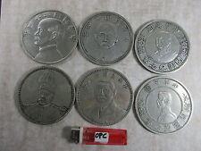 6 große alte Münzen China  ~1970 Sammlung no Silber Kaiser Politiker Dollar 1kg