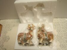Fitz and Floyd Candy Lane Christmas Reindeer Salt and Pepper Shakers New In Box