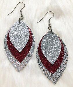 Stunning Crimson & Silver Glitter Faux Leather Earrings Triple Layer