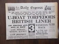 DAILY EXPRESS WWII NEWSPAPER SEPTEMBER 4th 1939 - U-BOAT SINKS BRITISH LINER