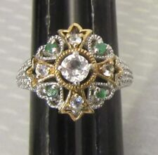 925 signed CC 2-tone sterling silver filigree WHITE TOPAZ & EMERALD RING sz 5.5