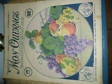 MON OUVRAGE.1930. BRODERIE. N 182. DU 15 SEPT. COUVERTURE. LES FRUITS..SUR SATIN