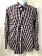 ARIAT PRO SERIES Mens Western Long sleeve Burgundy Plaid Shirt Size M