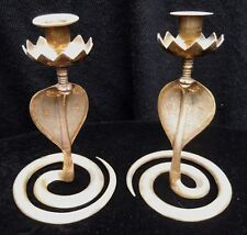Large Vintage Solid Brass Persian Serpent Cobra Snake Spiral Candlesticks Pagan