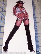 "RARE SEXY REDHEAD BUCKAROO COWGIRL PINUP GIRL STICKER DECAL 6""x10"" Country"