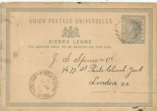 SIERRA LEONE 1889 THREE HALF PENCE CARD TO LONDON,SEE SCANS