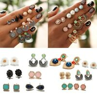 6Pairs/Set Women Vintage Crystal Earrings Jewelry Ear Stud Fashion Boho Earrings