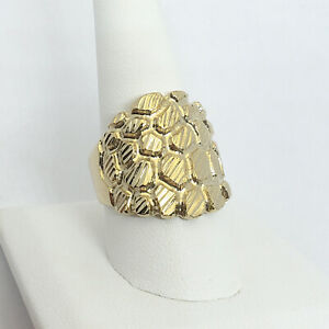 Solid 18K Yellow Gold Mens Nugget Ring Diamond Cut Extra Heavy, Size 5 - 15 XXL