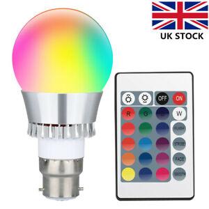 B22 RGB 16 Colour Changing LED Light Bulb Mood Night Remote Disco Spotlight Lamp
