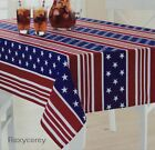 Celebrate Americana 4th Red White Blue Stars Stripes 60x84 Oblong Tablecloth NWT