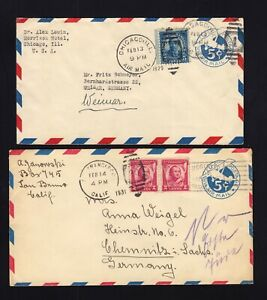 UC1 & UC2 Air Mail Envelopes USED to GERMANY