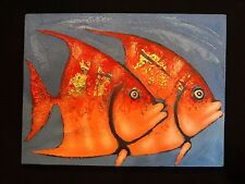 "Tropical Fish Oil Painting on Canvas ~ Great Beach House Decor ~ 15.75"" x 11.75"""