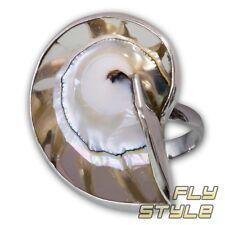 Nautilus 925 Silber Ring perlmutt muschel ammonit fossil ethno schmuck boho goa