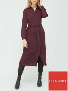 V by Very Long Sleeve Shirt Midi Dress In Burgundy Wine Size 18 BNWT RRP £38