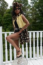 Designer Gold leather &Civet Spotted skunk Fur Vest coat Jacket Free Hat S-M 2-9