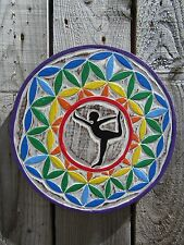 Hand Carved Made Wooden Hatha Raja Flower Of Life Yoga Pose Wall Art Plaque