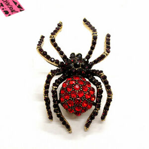Hot Purple Crystal Bling Spider Insect Betsey Johnson Charm Brooch Pin Gift