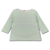 ORVIS Size Medium Green Striped 3/4 Sleeve Boat Neck Knit Top