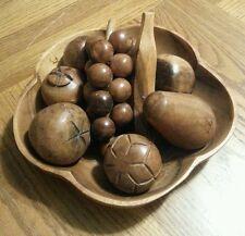 vintage monkey pod wooden fruit w/ bowl