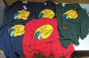 Lot of 5 Men's Size XL & XXL Bass Pro Fishing Sweatshirt Shirt 2XL Blue Green