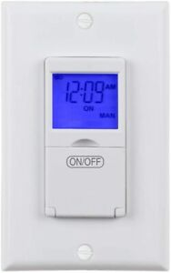 BN-LINK 7 Day Programmable In-Wall Timer Switch Digital with Blue Light, 3 way