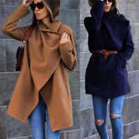 Womens Lapel Wool Blend Coat Trench Jacket Parka Overcoat Outwear Warm Winter