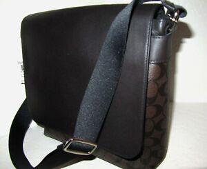 Coach F72109 Men's Signature Messenger Crossbody Bag Mahogany Brown Black NWT