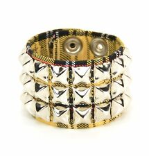 Plaid Yellow Studded Punk Cyber Goth Rockabilly Wrist Cuff Rockabilly Bracelet