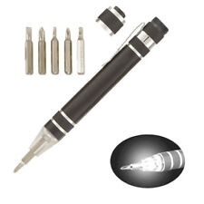 Aluminum Screwdriver Set with Light Up LED Nozzle Pocket Size With 6 Bits UK