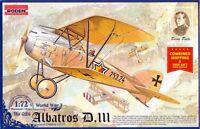 Albatros D III Allemand biplan Oeffag S.53.2 Guerre Mondiale 1 1//72 RODEN