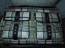 Bodhi XL Plaid Black/Tan Multi Coated Linen Crossbody Duffle Bag  MSRP $448+