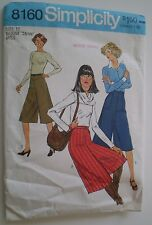 Pattern Simplicity Culottes  Vintage Size 12 Waist 26 1/2 Three Versions Used