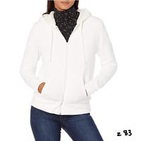 Essentials Women's Sherpa-Lined Fleece Full-Zip Hooded Jacket, Off White, Large
