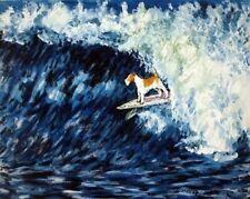 modern fox terrier art - fox terrier - 13x19 - surfing - -gift d Glossy Print