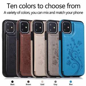 For iPhone 11 12 Pro 7 8 6S 5 XS Max XR Shockproof leather card slot Wallet Case