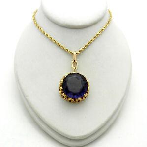 VINTAGE color change LC ALEXANDRITE 14k yellow GOLD Pendant chain necklace