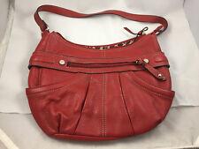 TIGNANELLO Women's Red Leather Zip Top Shoulder Strap Satchel Bag Purse Leather