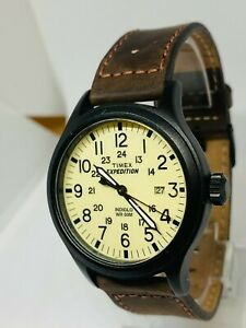 Timex Expedition T49963 Gents Watch With Original Brown Leather Strap - Light
