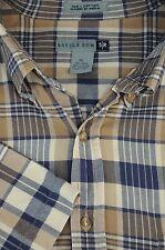 Savile Row Marrón Beige Blanco & Azul de Cuadros Algodón Camisa Informal XL XL