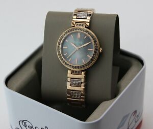 NEW AUTHENTIC FOSSIL KARLI ROSE GOLD CRYSTALS MOP WOMEN'S BQ3422 LADIES WATCH