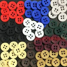 20 Coloured Shirt Buttons 4 Hole 10mm 12mm Black Navy Grey Green Blue Red Brown
