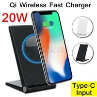 For iPhone For Samsung Qi 20W Wireless Fast Charging Dock Stand Holder Foldable