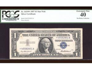 1957 $1 Silver ⭐️STAR Fr. 1619* PCGS XF-40 Serial *45582851A