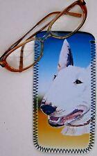 BULL TERRIER DOG NEOPRENE GLASS CASE POUCH  SANDRA COEN ARTIST WATERCOLOUR ART