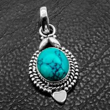New 925 Sterling Silver TURQUOISE Gemstone Love Heart Necklace Pendant Gift Box