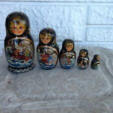 Russian Wooden Nesting Dolls Set of 5 Handmade Signed Made in Russia
